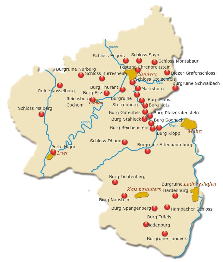 burgen an der mosel karte Die schönsten Burgen, Schlösser und Parks in Rheinland Pfalz